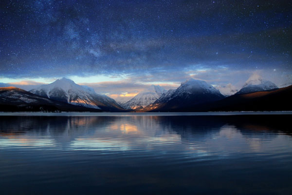 Mountains and distant galaxy